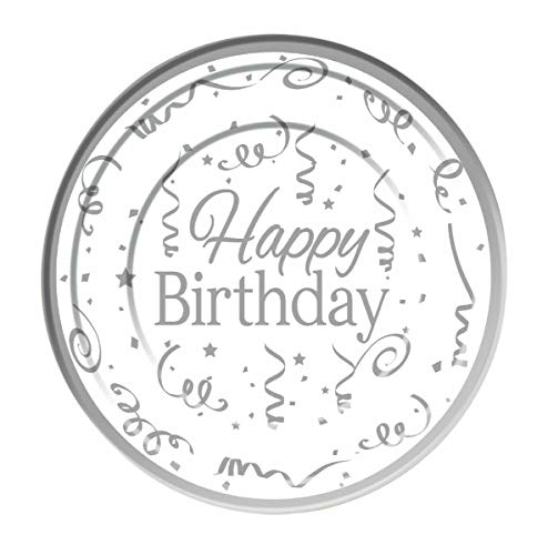 Forum Novelties- Silver Happy Birthday Plates Plastic (10 Pack) 26cm, Color, White (X81619)