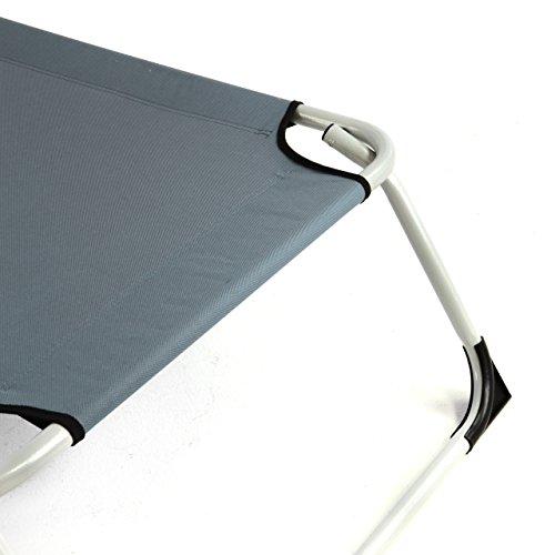 Nexos Gartenliege Camping Liege grau 190x63x28 cm mit Kopfkissen Sonnenliege klappbar 4fach verstellbar Stahlrohrrahmen grau Dreibeinliege wetterfest robust stabil - 3