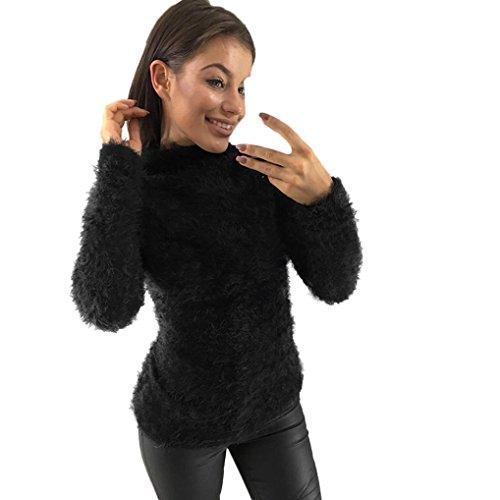 Bluse Damen Exquisite, LHWY Frauen Damen Tops Warm Langarm Sweatshirt Jumper Pullover Tops Bluse Plüsch Größe XL S (S, Schwarz)
