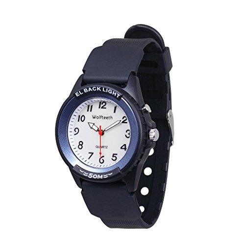 WOLFTEETH Kinder und Jugendliche Uhr Analog Quarz mit Kautschuk Armband Beleuchtung 305202 Blau Kreis MEHRWEG