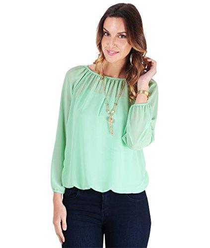 KRISP–Camisa y blusa 2 en 1 para mujer, manga amplia, con collar, estilo casual, amplia, de chifón, tipo kimono, con collar, informal Azul Aqua [FULL SLEEVE]. Large / X-Large