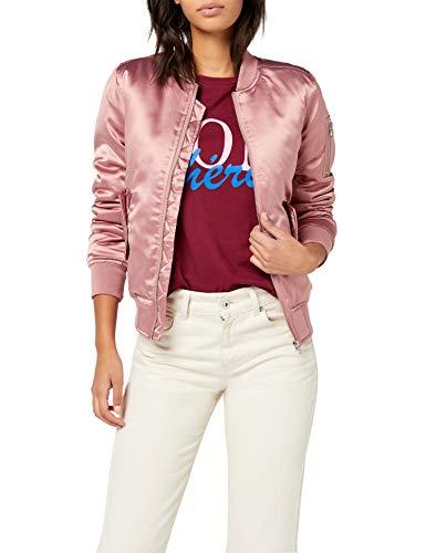 Urban Classics Damen Ladies Satin Bomber Jacket Jacke, Rosa (oldrose 738), 40 (Herstellergröße: L)