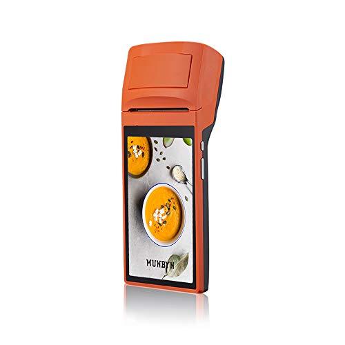 Handheld Android POS-Terminal | Android 6.0 3G WIFI Bluetooth MUNBYN | Eingebauter Thermodrucker | 1D Barcode-Leser | für Kleinunternehmen Belegdruck 3g Wifi Bluetooth