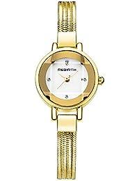 Relojes Pulsera Espejo de Corte Poligonal Escala Rhinestone Relojes Mujer Pulsera de Cadena de Acero Inoxidable
