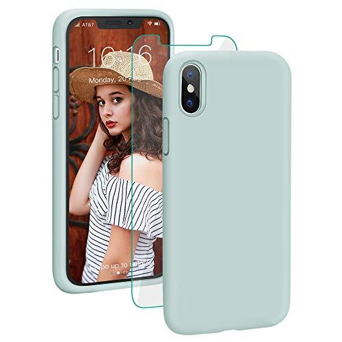 ProBien Hülle für iPhone X/iPhone XS, Silikon Handyhülle mit Kostenlos Panzerglas, Anti-Fingerabdruck Schutzhülle Kratzfest Bumper Case Cover für iPhone X/iPhone XS-Mint
