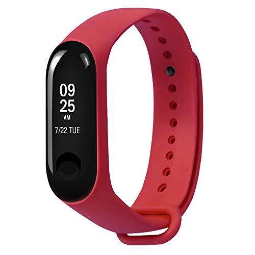 Zolimx Deportes Soft TPE Silicona Reemplazo Fitness Pulsera Original Correa de Muñeca para Xiao Mi Band 3 Smartwatch (Rojo)