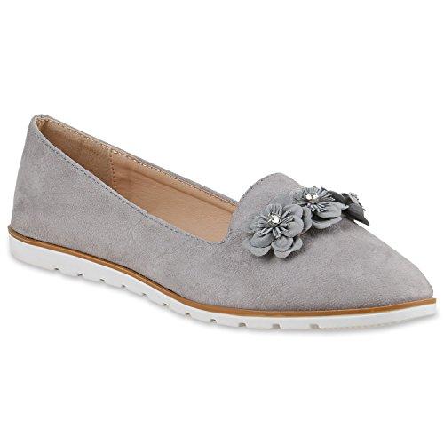Stiefelparadies Damen Slipper Loafers Lack Metallic Flats Profilsohle Schuhe 138287 Hellgrau Blumen 37 Flandell