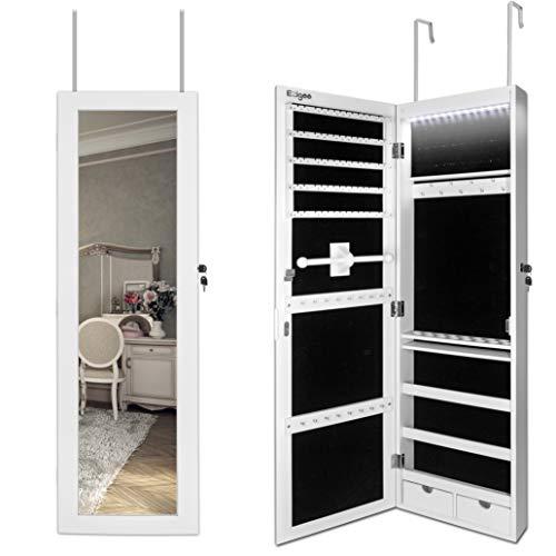 Ezigoo Schmuckschrank Spiegel Türgestell/Spiegel Schmuckschrank hängend mit LED Lichtleiste 110 x 31,5 x 8,5 cm -