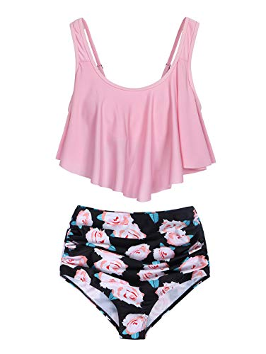 MetCuento Damen-Badeanzug Tankini, zweiteilig, gerüschter Racerback, hohe Taille, schulterfrei, Bauchkontrolle, Bikini-Set - Pink - Medium (38-40) - 4