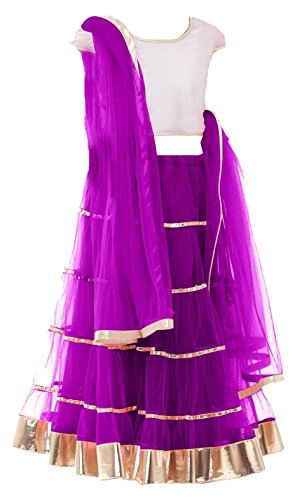 Clickedia Kids Heavy Net Embroidered Purple Lehenga with matching blouse pc - traditional wear ( 8-11 yrs)- Semi-Stitched alterable  available at amazon for Rs.249