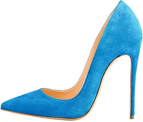 ELEHOT Femme 12cm Taille EU 34-46 Elenow Aiguille 12CM Synthétique Escarpins bleu Light-12cm