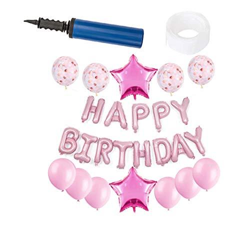 ration, 27 Stück Jungen und Mädchen Aufblasen Folie Happy Birthday Banner Latex Ballons Sets,Pink ()