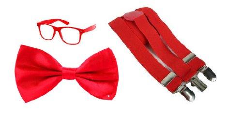 Herren Damen Rot Nerd Geek Dweeb Schule Mädchen Boy Kostüm Zubehör–Brille, Fliege, (Nerd Mädchen Kostüm Für)