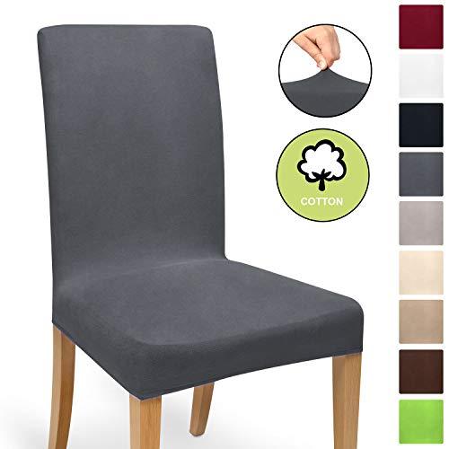 Beautissu Housse strech Mia pour chaise - 45x45cm - Elegante moderne - Coton - Bi-Elastique - OEKO-TEX - Gris