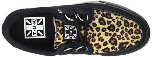 T.U.K. Vlk D Ring Creeper Sneaker Blk/Leopard, Baskets Basses Mixte Adulte Noir (Black/Leopard Canvas)