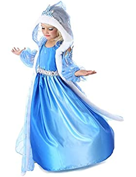 Vestito Frozen Bambina Dress Carnevale Costume Bimba childen Blu 816