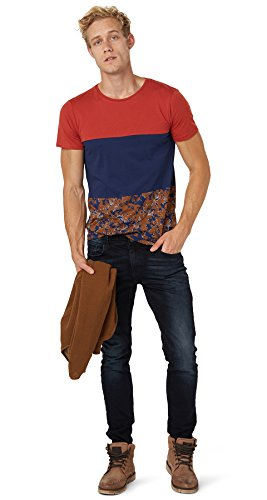 TOM TAILOR Denim Herren T-Shirt 100% Baumwolle Braunrot