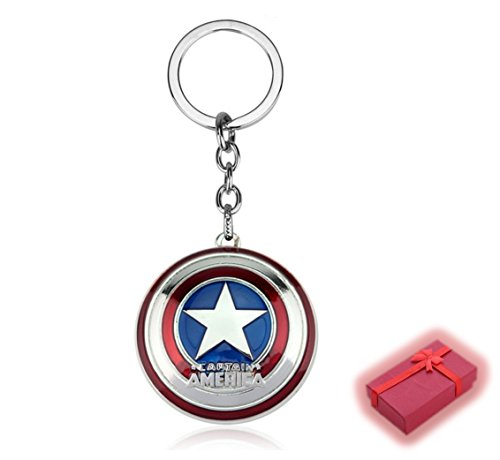 Nest des Kind – Schlüsselanhänger Typ Marvel The Avengers DC Comics Justice League of America Star Wars Film Spiele Cartoon Superhelden Comics Manga Villians schlechte Gute Captain America Scudo (SILVER)