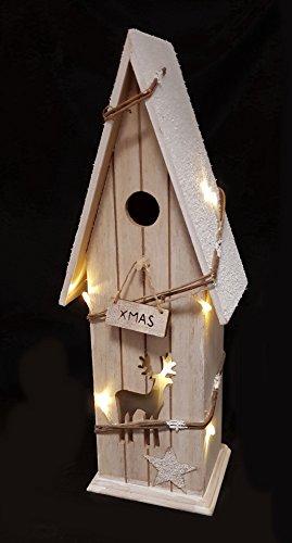 LED Deko Haus XMAS - 11 Lichter / 42 cm - Echt Holz Weihnachtsdeko beleuchtet