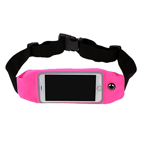 Generic 5.5 Inch Touch Screen Waist Pack Pouch For Running Sports - Rose Red