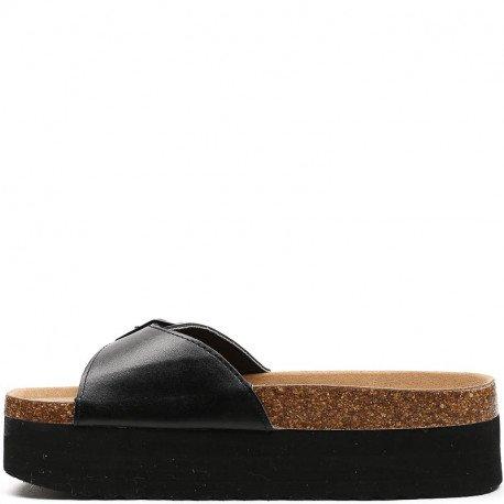 Ideal Shoes - Nu-pieds à plateforme Tiliane Noir