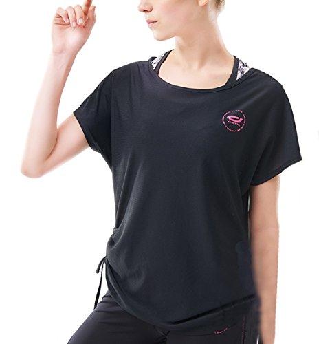 Yvette Damen Kurzarm Sport T-Shirt Für Yoga Fitness-Training Schnelle Trocknung Schwarz