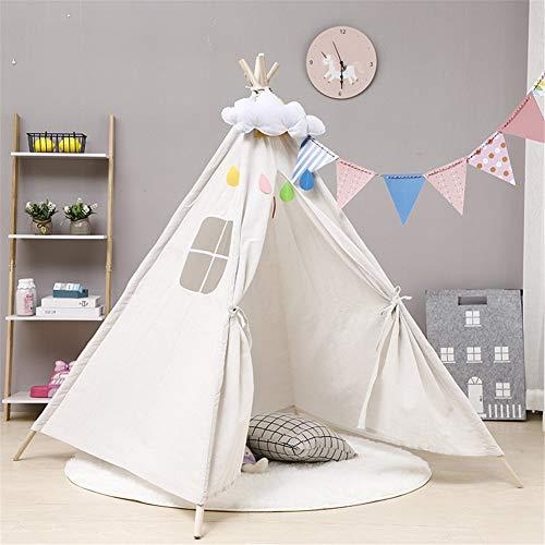 ZOZUU Kinderzelt Indoor-Spielhaus Kleines Haus Prinzessin Schloss Im Freien Picknickzelt Zelt Spielzelt (Weiß,1.1m)
