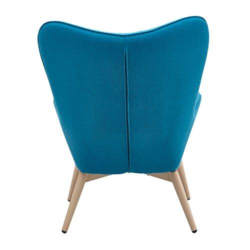 Designer Ohren-Sessel petrol mit Armlehnen aus Wolle blau | Anjo | Blauer Club-Sessel im Retro-Design mit Gestell in Holz | Moderner Wohnzimmer-Sessel auch als Relax-Sessel zu benutzen - 4