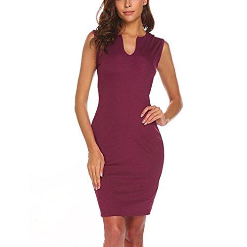 QinMM Damen Wear zu Arbeiten Büro Sleeveless V-Ausschnitt Bodycon Bleistift Kleid Sommer Casual Stilvolle Schwarz Wein Marine S-XL (S, Wein) -