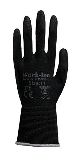 12 Paar Arbeitshandschuhe Montage-Handschuhe PU-Beschichtung | Größe XXL | Nylon-Handschuhe nahtlos | wasserabweisende Grip-Handschuhe |...