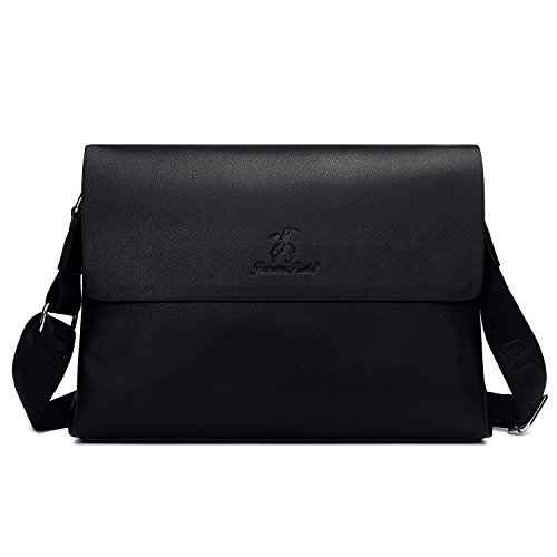 Unives Klassische Herren-Lederaktentasche für Business-Classic Messenger Bag Laptop-Tasche Notebook-Tasche Schultasche Schultertasche für Arbeit Schwarz