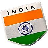 S2S India Flag 3D Chrome Aluminium Metal Sticker Emblem Badge Logo For Car & Bike, 12 X 10 X 1 Cm
