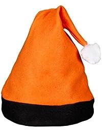 Bonnet de Père Noel mère Noël qualité Alsino (wm-42b) Coloris orange avec bande noir et pompon