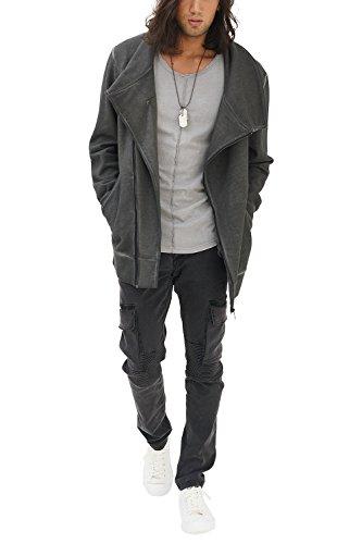 trueprodigy Casual Herren Marken Sweatjacke einfarbig Basic, Oberteil cool und stylisch vintage (Langarm & Slim Fit), Sweat Jacke für Männer in Farbe: Grau 2682107-0403 Anthrazit