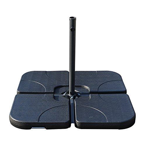 Base de Sombrilla o Pie para Parasol tipo Soporte de 4 piezas de plástico de color negro 50x50x7,5cm
