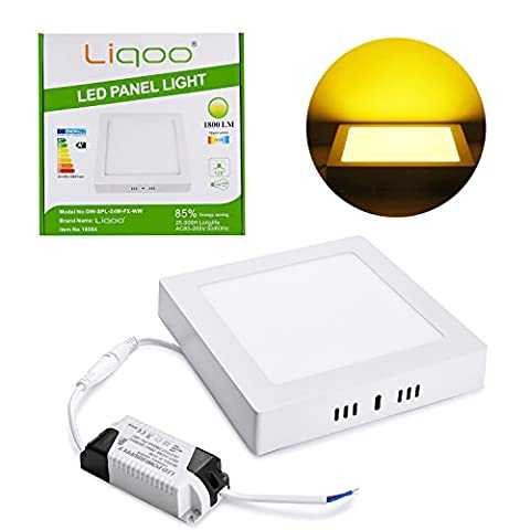Liqoo 24W Surface Mounted LED Panel Light, Square Ceiling Light, Downlight Lamp with Transformer, Warm White 3200k 1800 Lumen, Install Directly