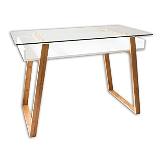 bonvivo table bureau secrtaire massimo moderne verre bois naturel avec tagre blanc laqu design contemporain - Bureau Blanc Et Bois