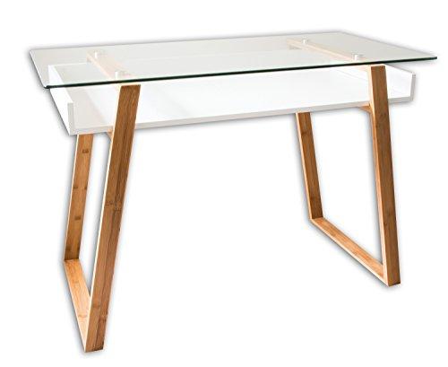 bonVIVO Escritorio de Diseño Massimo, Secretario Moderno Combinado con Cristal, Madera Natural y Estantes Lacados en un Diseño Contemporáneo