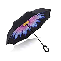 Double Layer Inverted Umbrella Cars Reverse Umbrella,Windproof UV Protection Big Straight Umbrella for Car Rain Outdoor With C-Shaped Handle Travel Umbrella by Elecmart (Coloured Glaze)