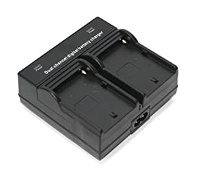 Maxsimafoto - Chargeur de batterie double pour Sony NP-FM500H, NP-F330, NP-F530, NP-F550, NP-F570, NP-F730, NP-F730H, NP-F750, NP-F770, NP-F930, NP-F950, NP-F960, NP-F970, NP- QM71D, NP-QM91D également alimentés par batterie vidéo lumières, menées unités légères, TV Monitor etc