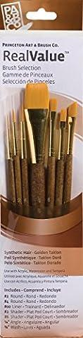 Real Value Brush Set Synthetic Gold Taklong-Rnd 2,4,liner 2/0,shader 2,6,ang
