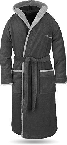 normani® Baumwoll Bademantel mit Kapuze in weicher Premium Qualität mit Öko Tex 100 für Damen und Herren Farbe Schwarz/Grau Größe M -