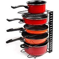 EverEx™ Adjustable Multipurpose pan and Pot tawa Rack Holder Stand Plate Dish lid Tray Utensils cookware Cupboard Cabinet Storage Shelf Shelves Organiser Organizer for Kitchen, Black