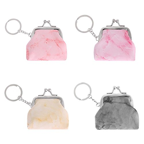 Everpert Coin Purses Women Marble PU Leather Mini Tassels Keychain Purse Bag Car Keyring Charm