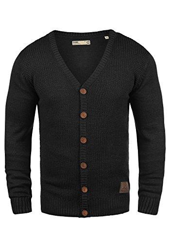SOLID Tyrell Herren Strickjacke Cardigan Feinstrick mit V-Ausschnitt aus hochwertiger Baumwollmischung Meliert, Größe:XL, Farbe:Black (9000) (Herren-leder-jacke Mit Wolle)