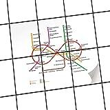 creatisto Fliesen | Design-Dekorsticker Küchenfolie Bad-Fliesen Badgestaltung | 15x20 cm Design Motiv Metro Line Infinity - Weiß - 6 Stück