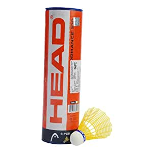 Head Air Performance 100 Badminton Shuttlecock, Pack of 6 (Yellow)
