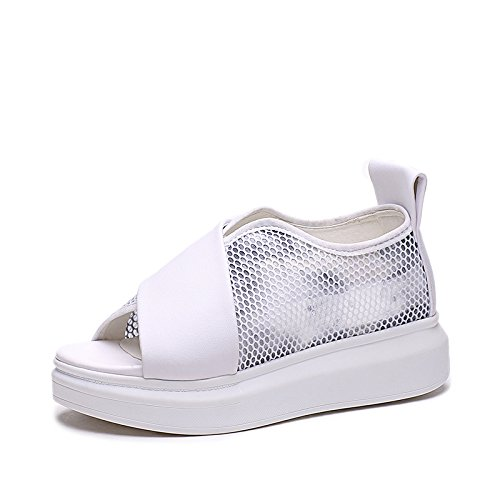 ZPPZZP Ms sandali estate a tacco alto tacco che la pendenza di spessore nero 37EU 35EU