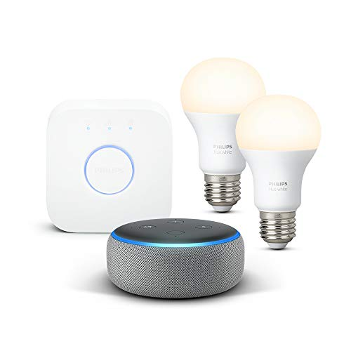 Echo Dot (3.ª generación), tela de color gris oscuro + Philips Hue White Kit - Kit de 2 bombillas LED E27 y puente