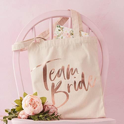 Stoff-Beutel / Party-Tasche / Henkel-Bag Team Bride in Creme & rosé-Gold - JGA / Junggesellinnen-Abschied Frau-en Braut / Hen-Party / Accessoire-s & Zubehör -